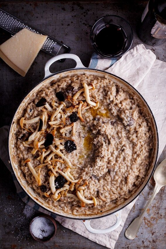 Aromatic French black winter truffles infuse this mushroom risotto with intense…
