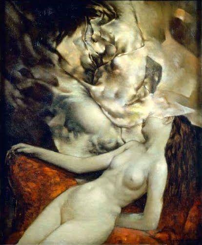 sleeping nude 1954: Dorothea Tanning