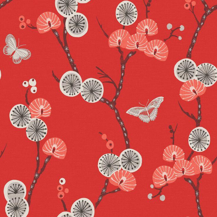 Matilda Grey & Red Floral Wallpaper | Departments | DIY at B&Q