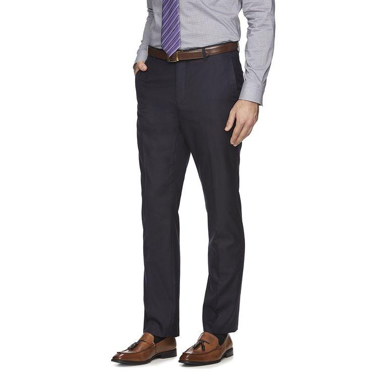 Men's Marc Anthony Slim-Fit Herringbone Suit Pants, Size: 30X32, Blue