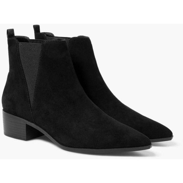 Mango Elastic Panels Ankle Boot ($77) ❤ liked on Polyvore featuring shoes, boots, ankle booties, mango boots, short boots, pointed boots, mid heel boots et ankle boots