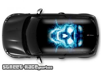 Electric skull - printed and laminated (air release) vinyl car roof graphics.