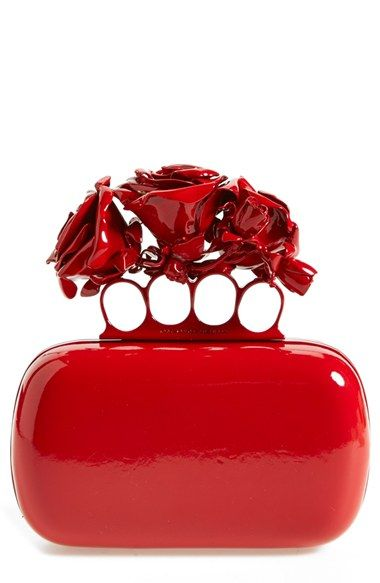 Alexander McQueen 'Lacquered Rose' Knuckle Box Clutch available at #Nordstrom