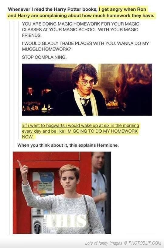 Hermione is a muggleborn and she is also the only one that really appreciates magic