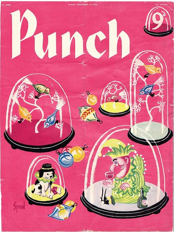 1956 cover CHRISTMAS ORNAMENTS George Sprod vintage Punch magazine