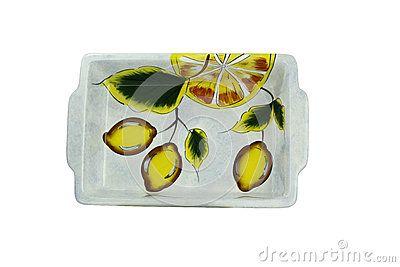 Artiginal plateau with lemons design  on white background
