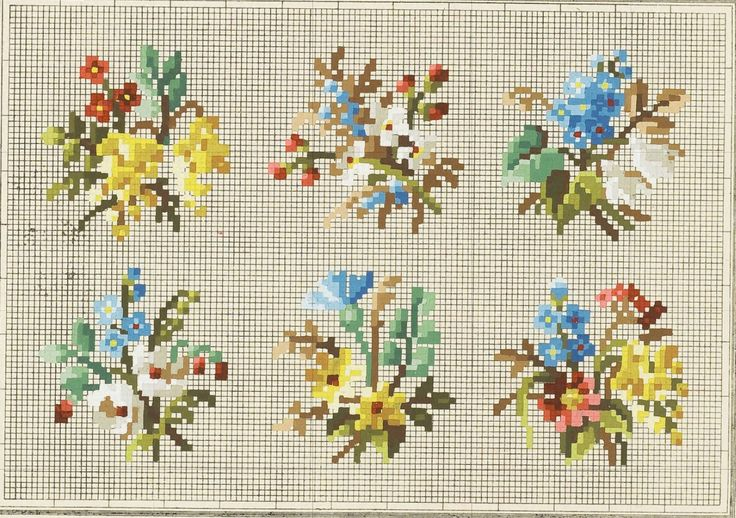 small cross stitich berlin work flowers chart