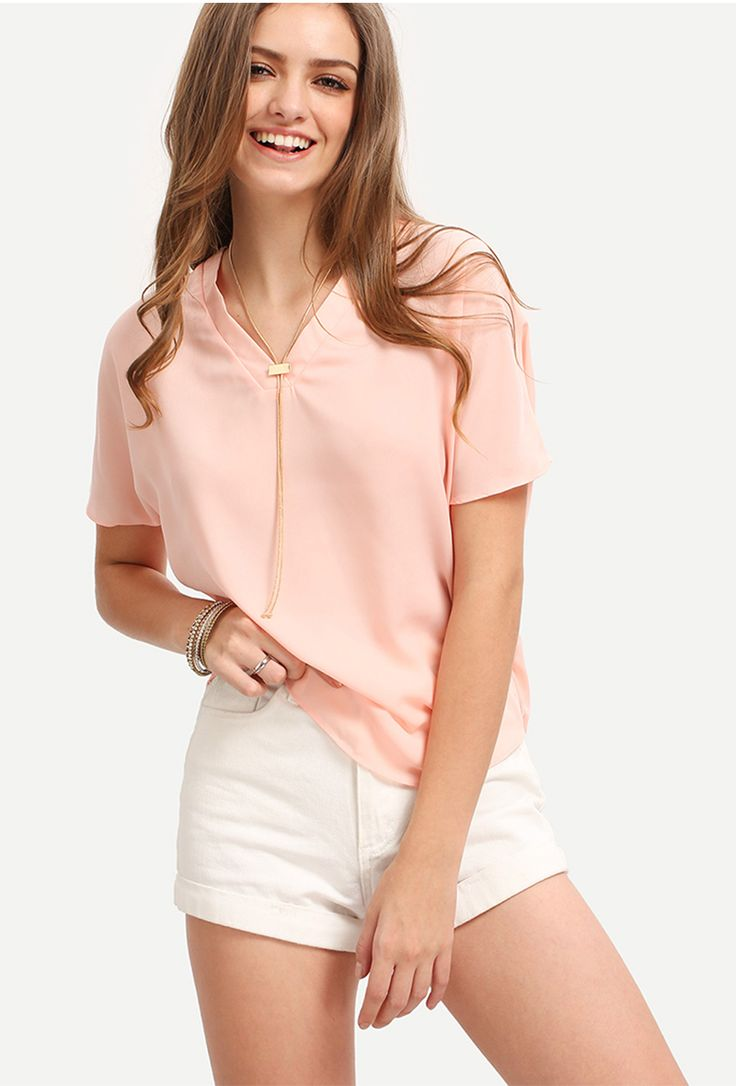 Summer batwing top for women. Pink Half Sleeve V-neck Dip Hem Blouse. Casual style, easy wear. US$9.90.