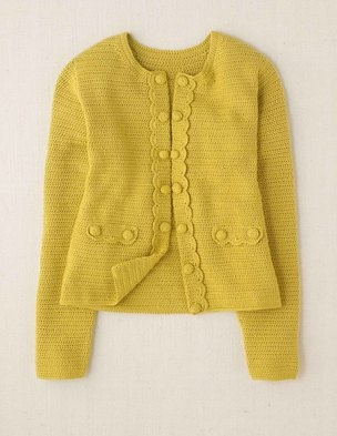 Hand Crochet Boden Jacket, with beautiful button and scalloped details and great mustard color.