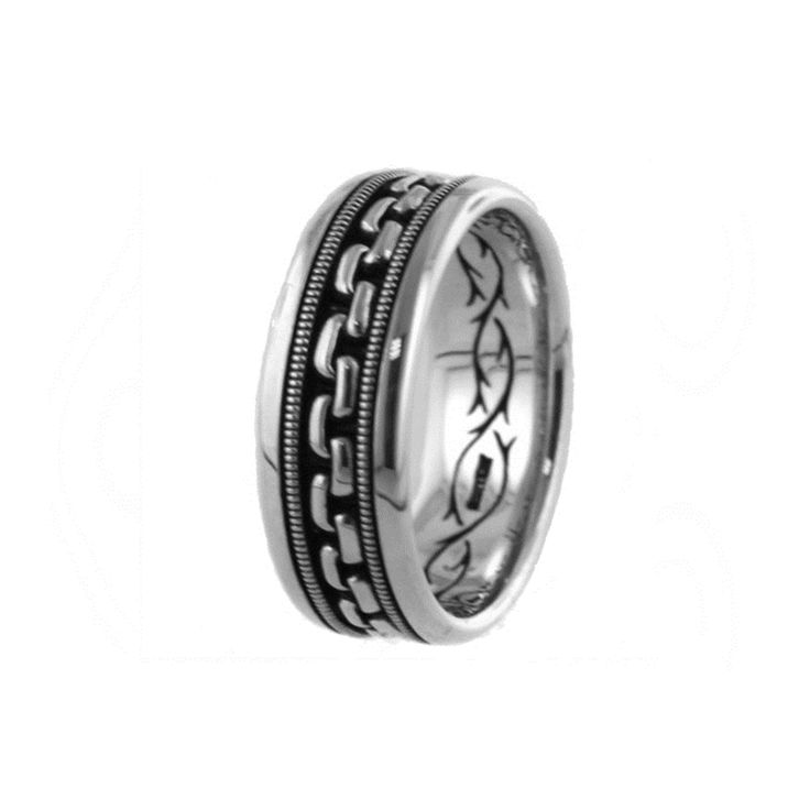 14kt White Gold H SI Mens Chain Pattern Wedding Band From The Gothic