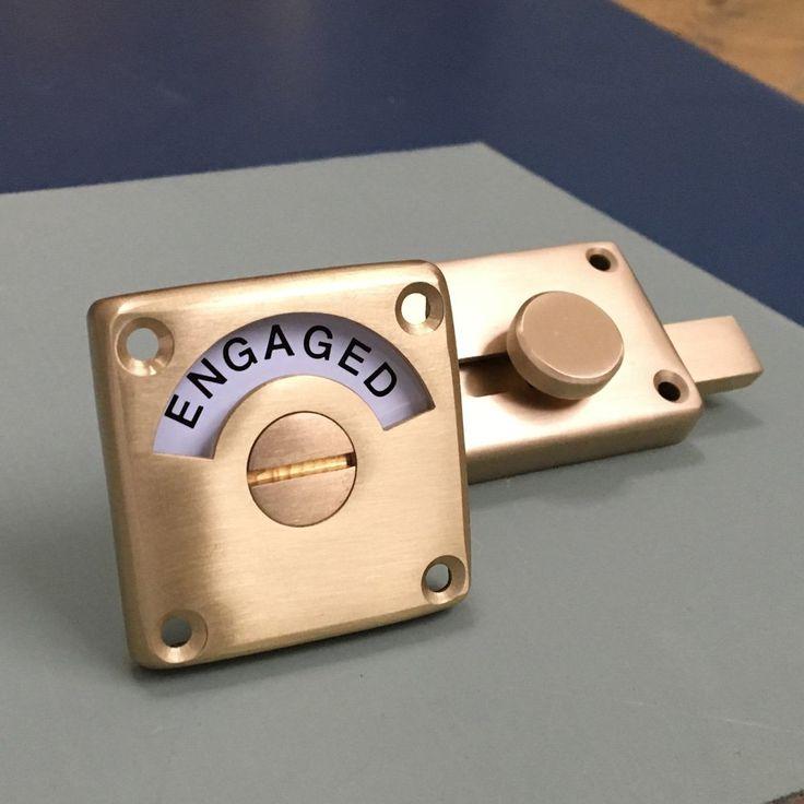 Satin Brass Vacant Engaged Lock In 2020 Bathroom Storage