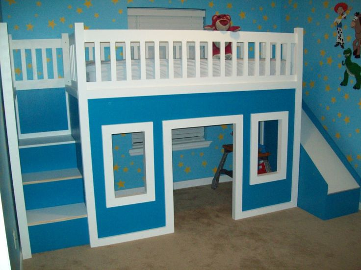 Kids Bedroom:Blue Schemes Kids Beds Design Ideas With Wooden Bunk Beds Also  Slide And
