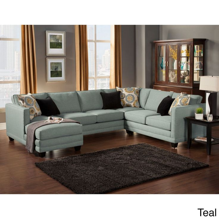 Give your living area a stunning new centerpiece with this three-piece upholstered sectional. Including accent pillows and espresso-finish legs, this set includes a left-arm sofa-chaise and right-arm loveseat, giving your guests plenty of room to sit.