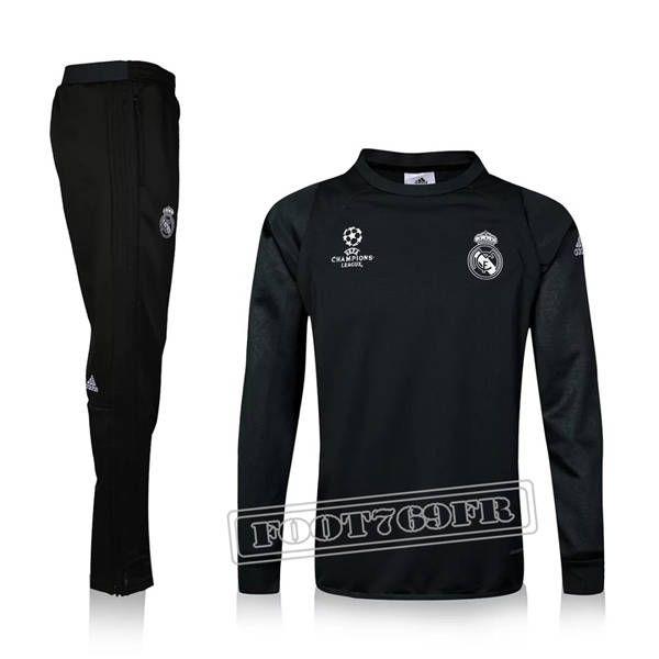Ensemble Survetement Velours Real Madrid Champions League Noir 2016 2017 Saison Homme | Foot769Fr