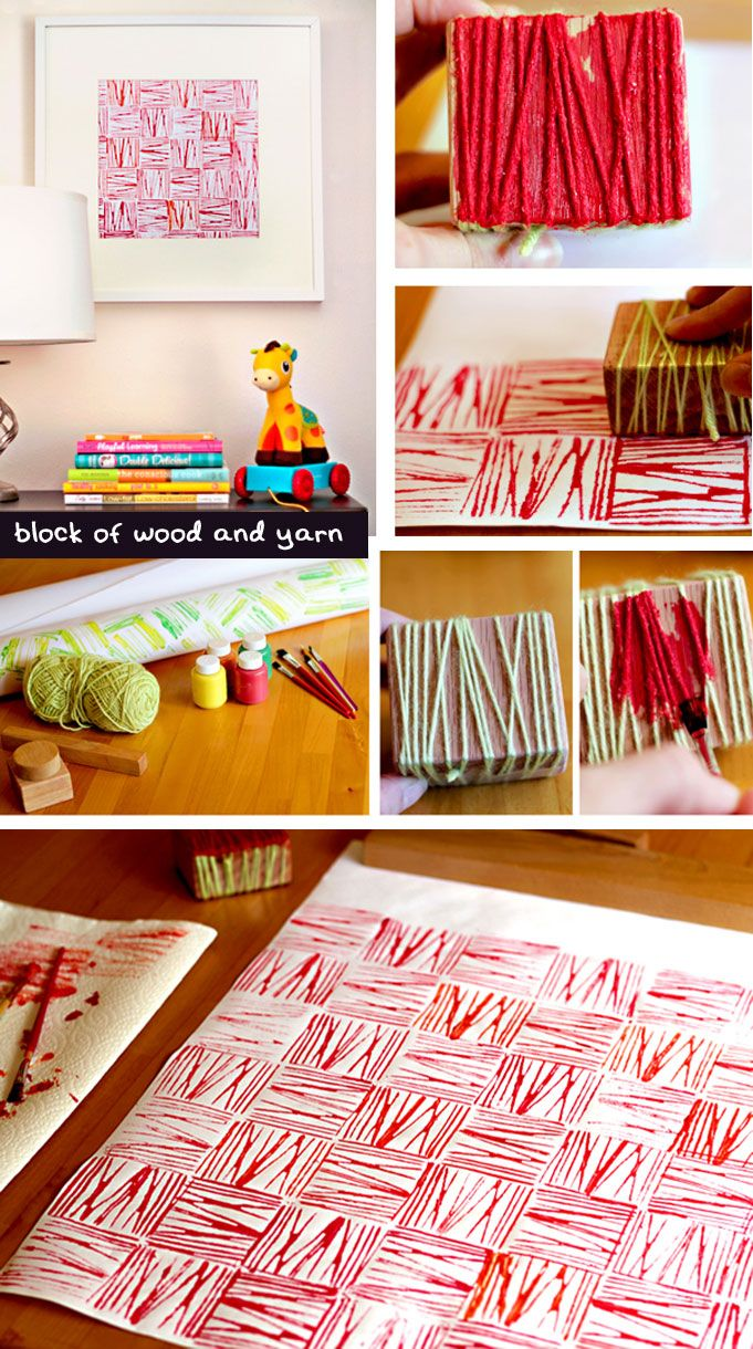 easy printmaking with a block and yarn!