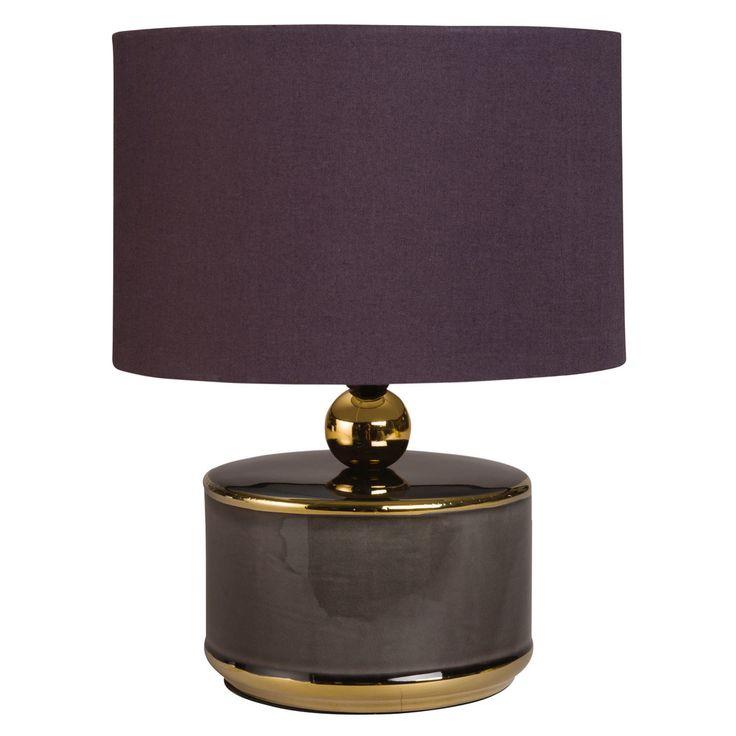 Lampe aus Keramik in Grau und Gold mit schwarzem Lampenschirm   Maisons du Monde