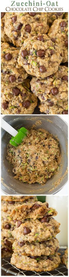 Zucchini Oat Chocolate Chip Cookies | sub applesauce, mashed banana, or mashed avocado for butter