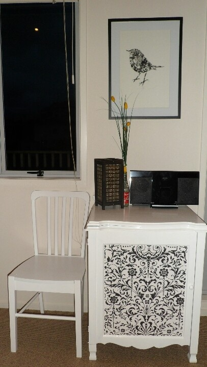 Flox print and wallpapered Singer cabinet