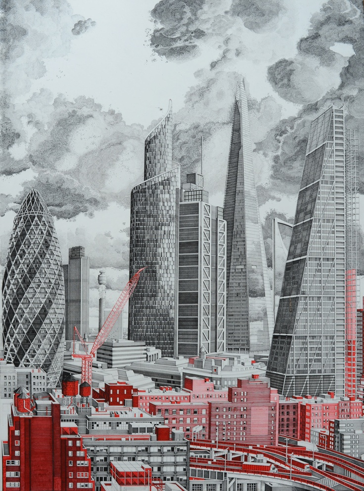 The Happiness Machine, by Mark Lascelles Thornton - an 8-foot-wide drawing of an imagined cityscape featuring landmark architectural icons.