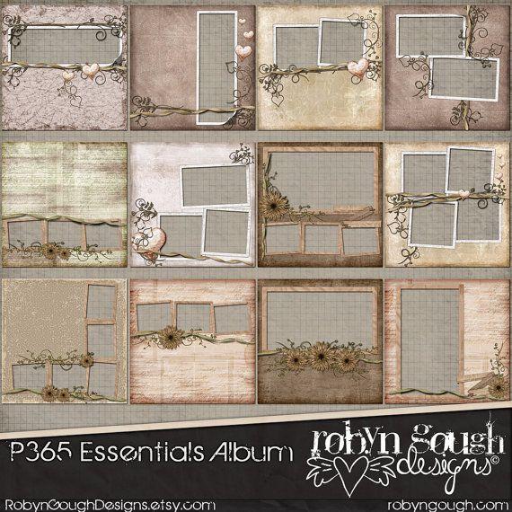 Digital Quick Page Album - P365 Essentials Vintage Shabby Chic Digital Scrapbook Album - 12 Pre-Made Layout Pages by Robyn Gough Designs on Etsy. digital scrapbooking, digiscrap