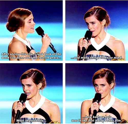 Emma Watson is funny, even though in the first two films bad/frizzy hair was good because it was closer to Hermione in the book