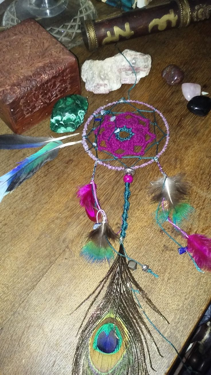Handcrafted daydream catcher with lapis lazuli