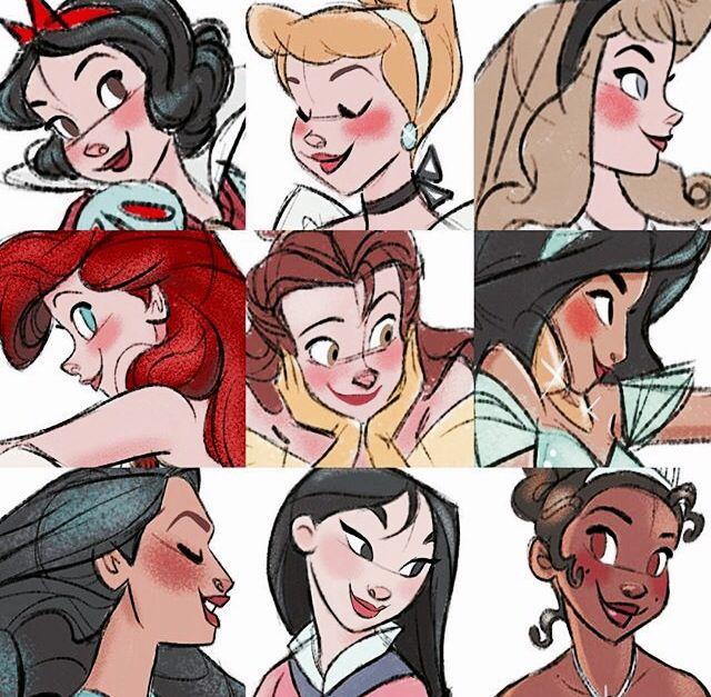 Snow White, Cinderella, Aurora, Ariel, Belle, Jasmine, Pocahontas, Mulan, and Tiana.