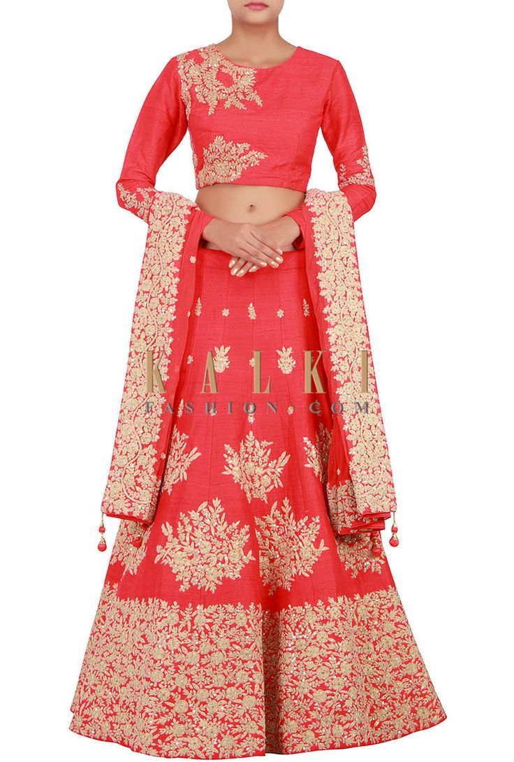 Buy Online from the link below. We ship worldwide (Free Shipping over US$100) http://www.kalkifashion.com/red-lehenga-enhanced-in-kundan-and-zari-embroidery-only-on-kalki.html