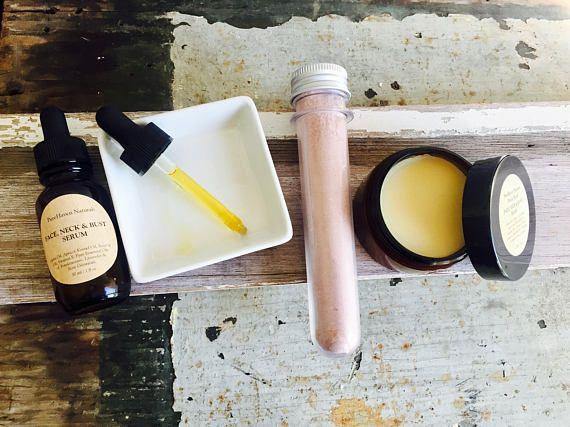 Dry Face Skincare Gift Set. Face Oil Serum Exfoliating