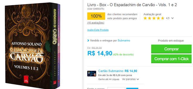 Box Livros O Espadachim de Carvão - Volumes 1 e 2 << R$ 1490 >>