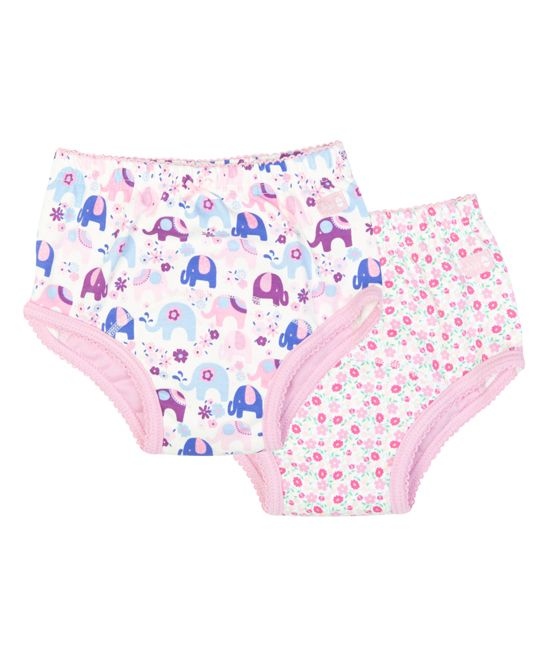 Pink Floral & Blue Elephant Training Underwear - Infant
