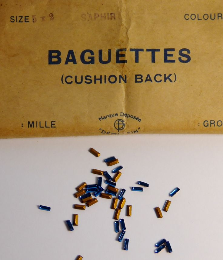 10 x Original Antique French Late 1800s Ex Jewelers Stock Baguette Cut Cushion Back Sapphires Crystals - The Collectors Bag