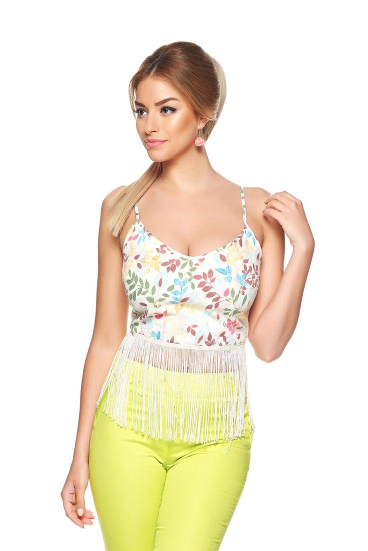 PrettyGirl Fringe Nude Top Shirt, side zip fastening, adjustable straps, print details, nonelastic fabric