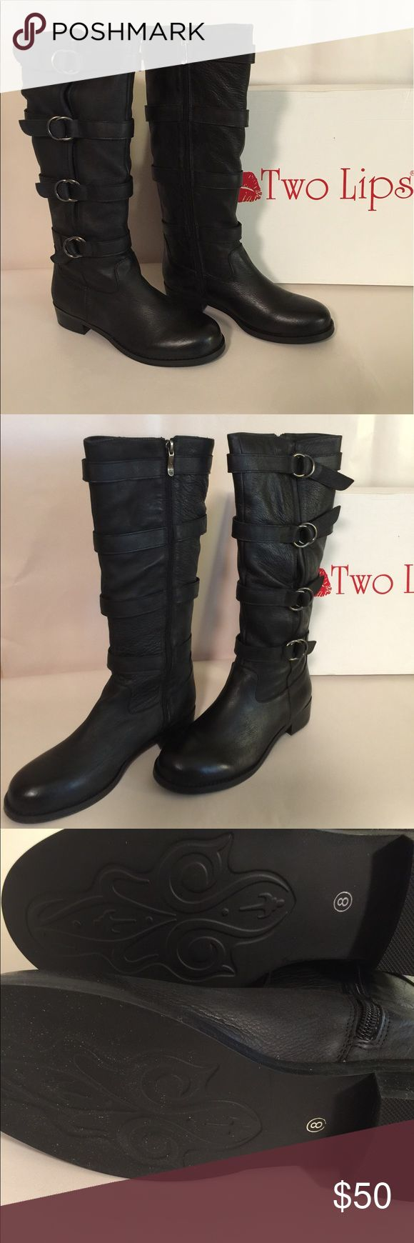 "🆕WOT Two Lips Jaguar Buckle Boots Leather upper with round toe. Man made outsole. Rubber sole. Heel measures 1.25"". Knee high boots. Never worn. Color is Black. Size is 8M. Two Lips Shoes Combat & Moto Boots"
