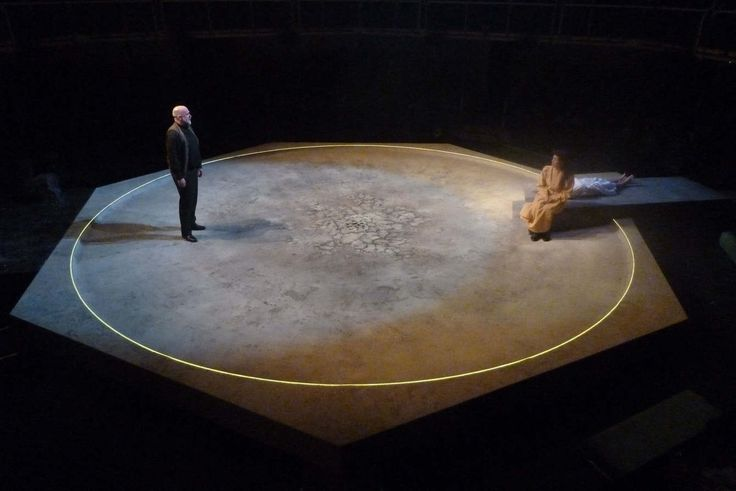 The Crucible - Max Jones | Designer  circle outlined in light - create the stage space - actors use space outside the circle - auditorium - break 4th wall colour: day -> night