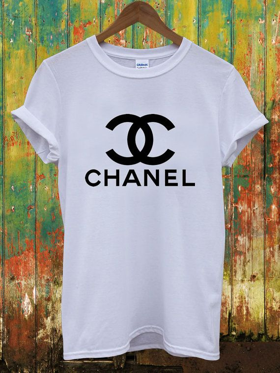 Chanel cc black logo white music vintage dope indie swag for Chanel logo t shirt to buy