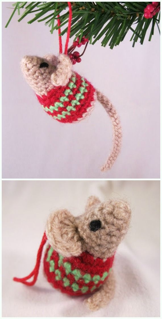 Amigurumi Little Christmas Mouse Crochet Free Pattern - DIY #Crochet; #Christ...