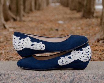 Navy Wedges Blue Wedding Shoes Low Heels Navy Heels by walkinonair