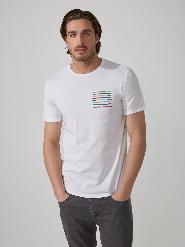 """Crayon """"Pocket"""" Modal-Cotton T-Shirt in Bright White   Frank And Oak"""