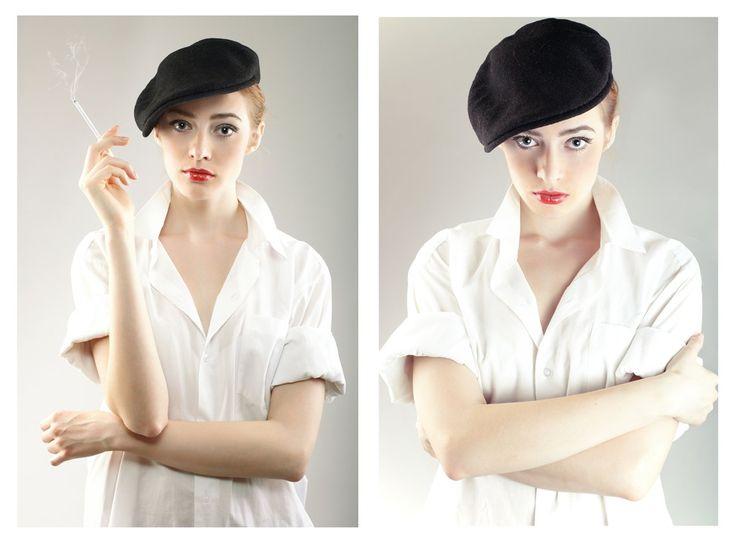 Девушка в кепи с сигаретой / Гламурная студийная съемка