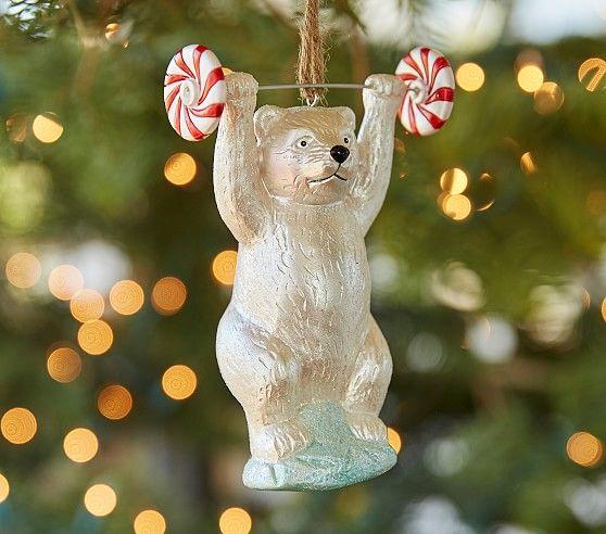 Mercury Polar Bear Weight Lifter Ornament