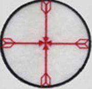 Scudo Medicina nativi americani.Questa ruota della medicina, mostra agli uomini il modo per conoscere e sapere di più sé stessi, i propri fratelli, il mondo e l'universo. Dalla direzione della saggezza = la freccia del nord Dalla direzione dell'innocenza = la freccia del sud Dalla direzione della lungimiranza = la freccia dell'est Dalla direzione dell'introspezione = la freccia dell'ovest.