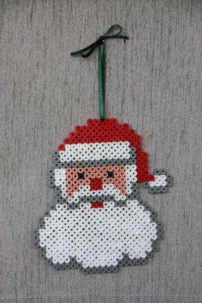 Santa Christmas ornament perler beads by Craft Fairies
