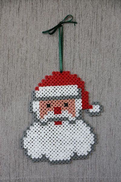 Santa Christmas ornament perler beads by Craft Fairies