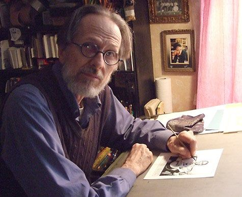 Robert Crumb no atelielr. Veja também:  http://semioticas1.blogspot.com.br/2012/05/estilo-crumb.html