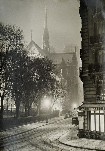 Notre Dame, Paris in the winter, at night, c. 1940