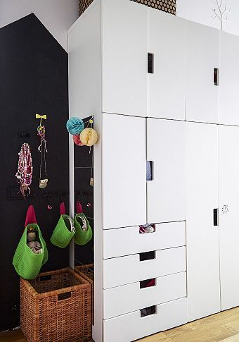 STUVA Storage, hanging baskets and this cabinet solution with STUVA Malad door in white are kid-friendly storage solutions.