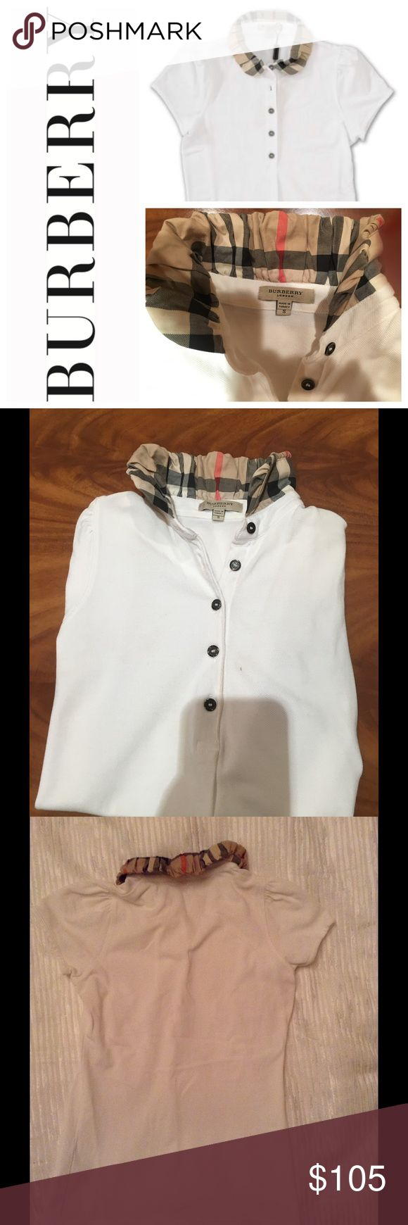 White Burberry polo Classy and timeless Burberry polo. Detailed collar Burberry Tops