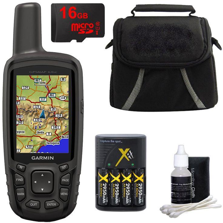 Garmin GPSMAP 64sc Handheld GPS - 1 Year BirdsEye 010-01199-30 w/ 16GB Micro SD Bundle