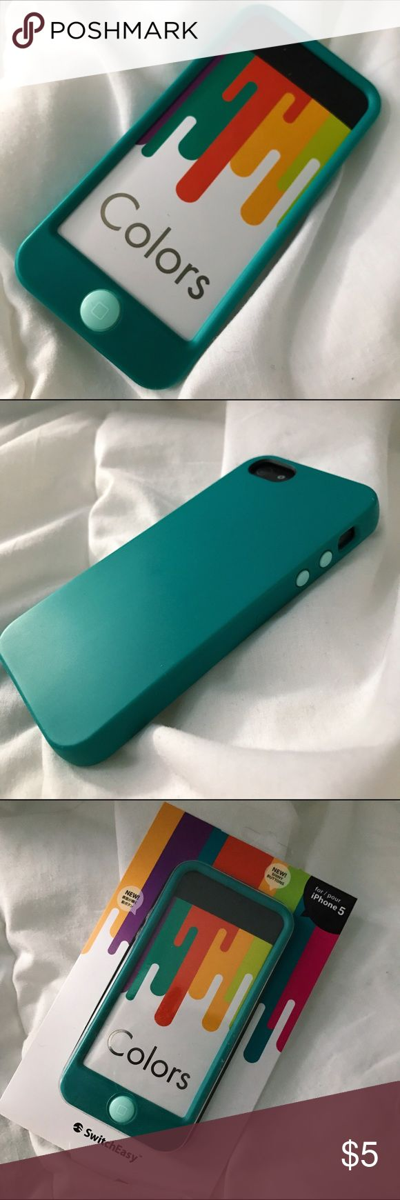 SWITCHEASY Colors Turquoise iPhone 5 Case Soft rubber case with jelly buttons! For the iPhone 5/5S. Flexible. Comes in original packaging. Good condition. SwitchEasy Accessories Phone Cases